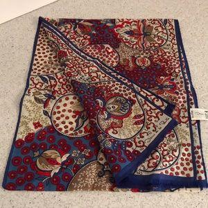 Vintage pure silk scarf - Oscar de la Renta Navy